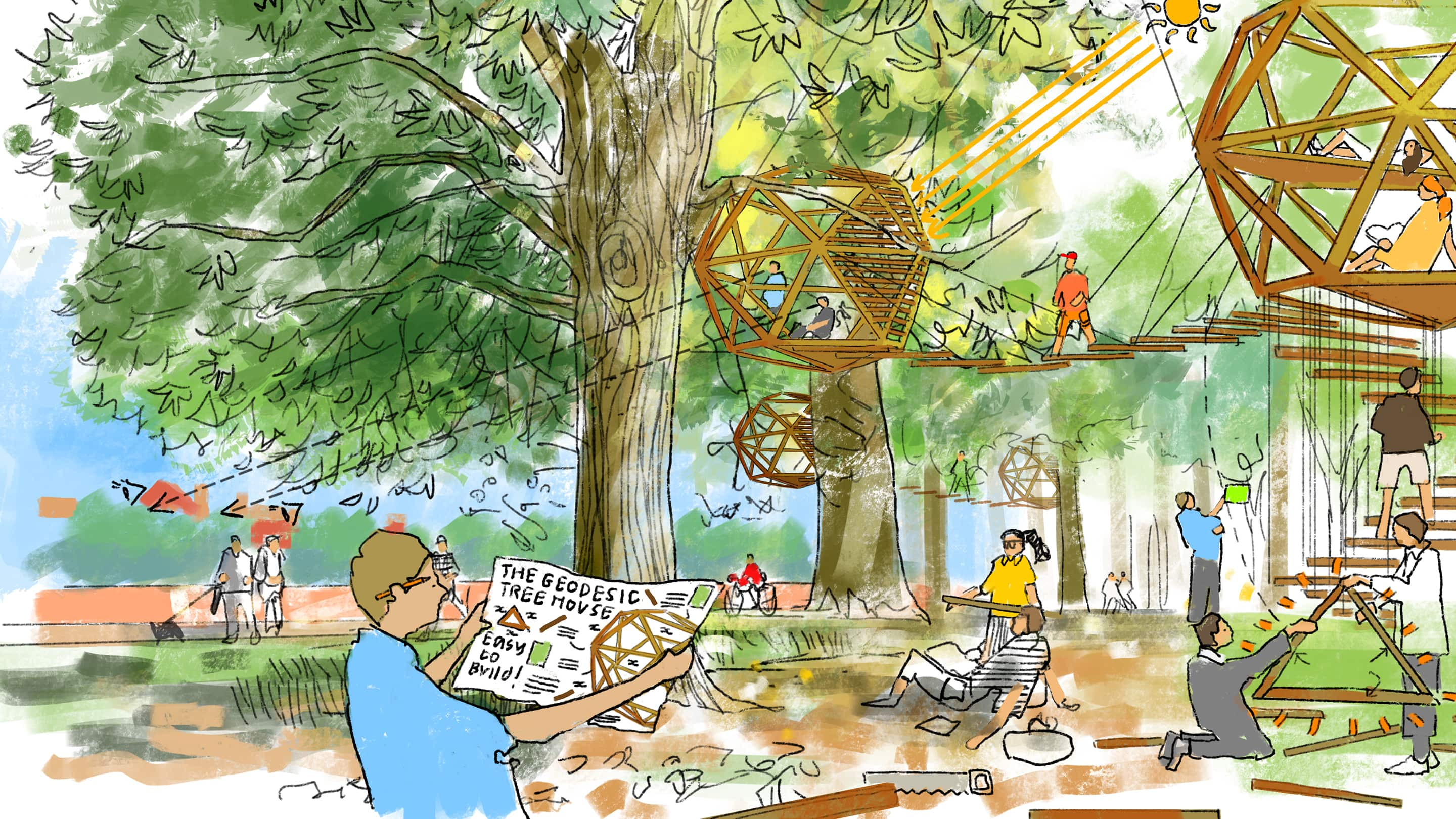 Design Lab Drawing Treehouses Co Created With Foster Partners